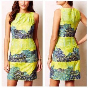 Tabitha (Anthro) Neon Azure Embroidered Dress - 10